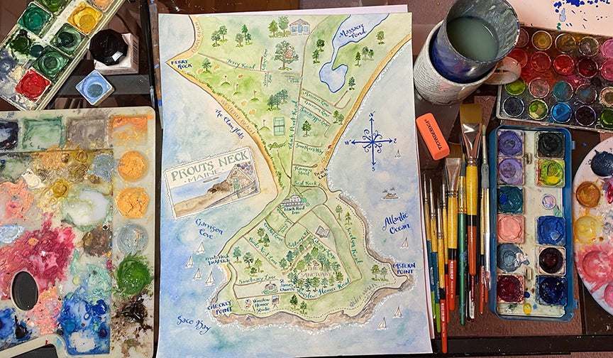 Prouts Neck watercolor map