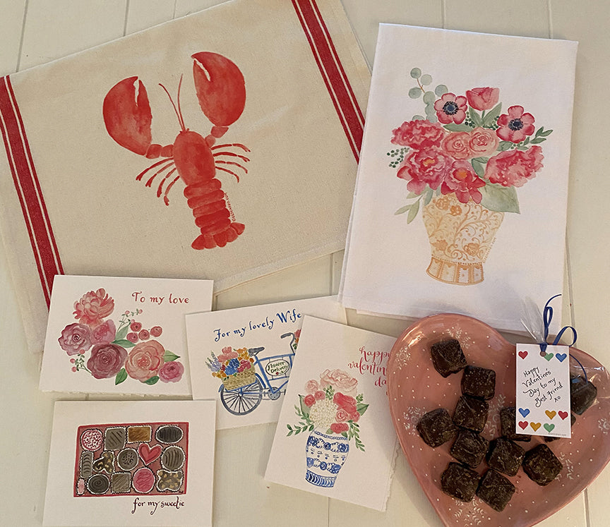 Valentine towels and cards