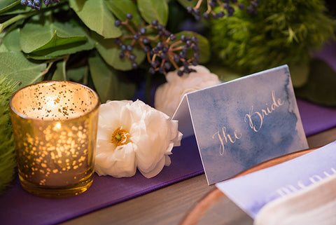 Brides place card in purple watercolor