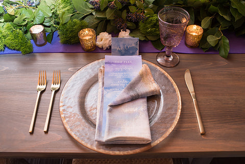 place setting in purple
