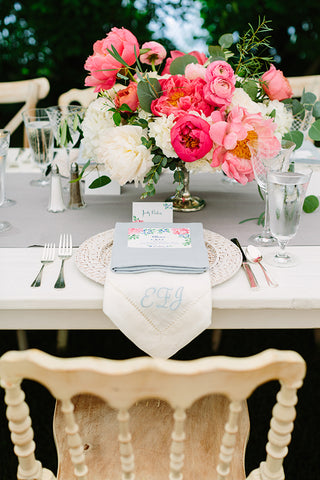 Place setting with peonies