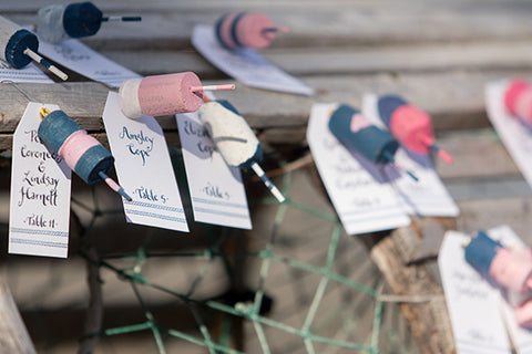 buoys escort cards with calligraphy