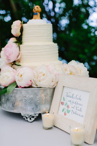 wedding cake and sign