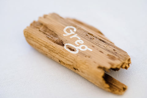 Hand lettered calligraphy driftwood