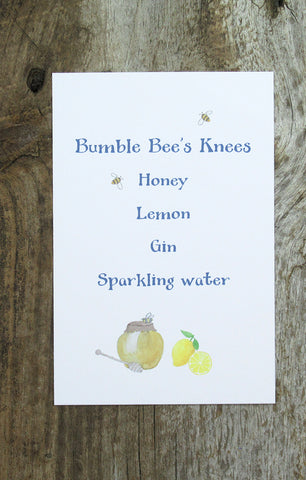 signature drink sign with bees and honey