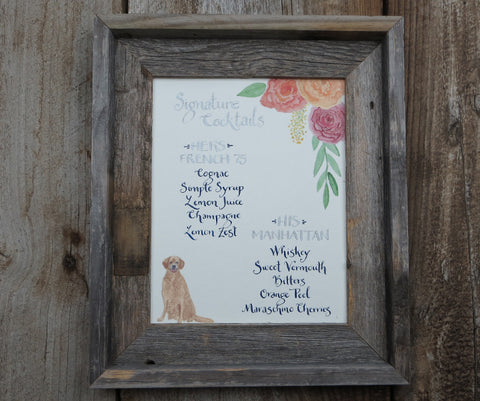 Signature cocktail sign with golden retriever