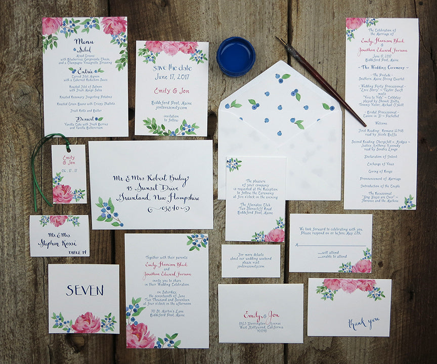 Peony Blueberry wedding invitation suite
