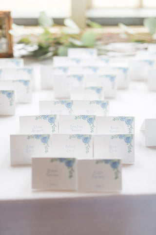 hydrangea and blueberry escort cards on table