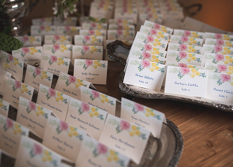 custom floral escort cards