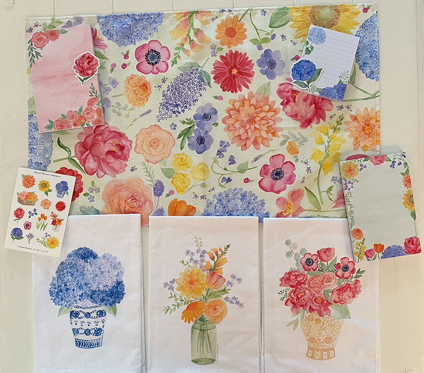 Happy Floral towels, pads and stickers