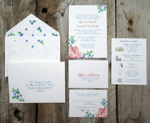 Peony and blueberries wedding invitation