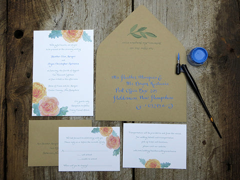full garden roses suite with calligraphy