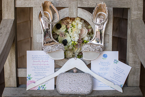Peony invitation with brides shoes