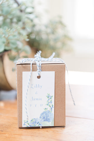 hydrangea and blueberry gift tag