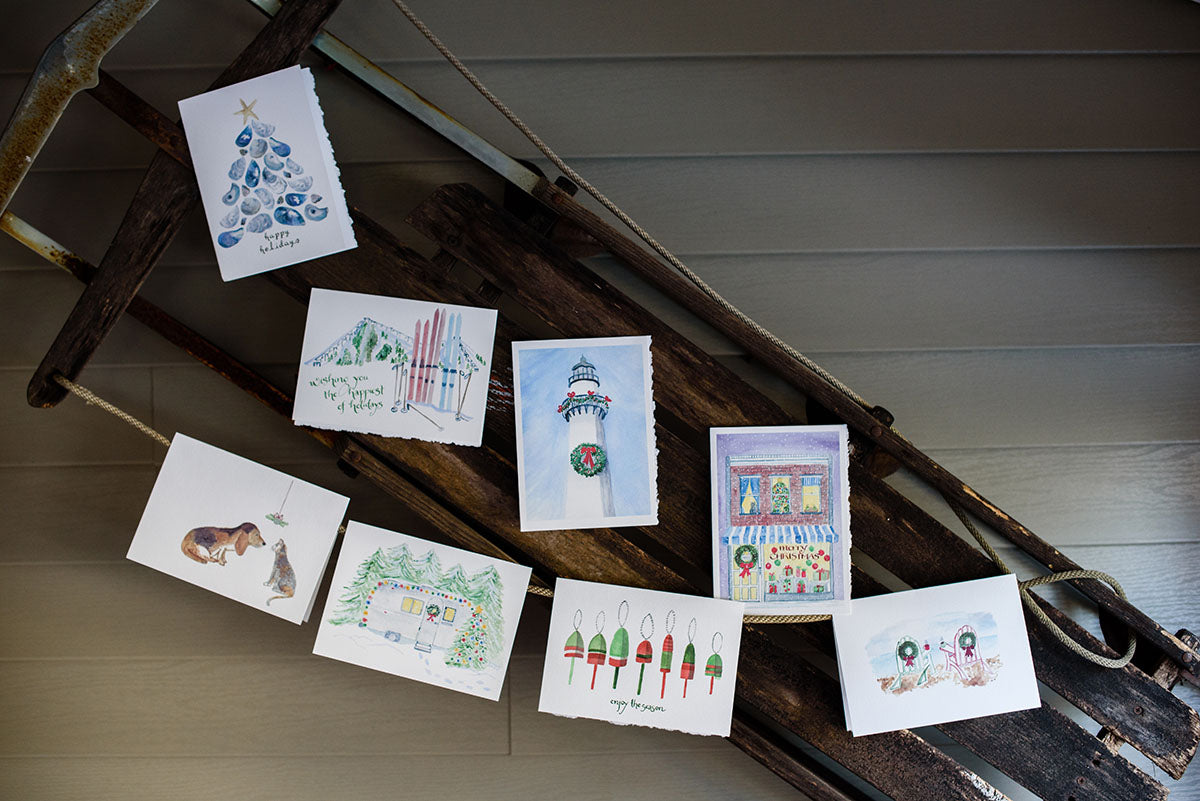 Holiday cards displayed on sled