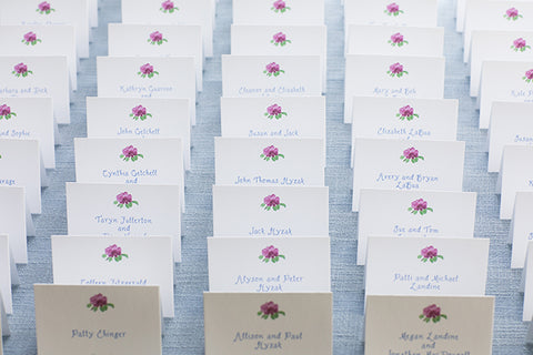 Watercolor beachrose place cards