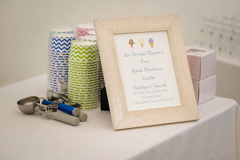 Ice cream sign for wedding reception