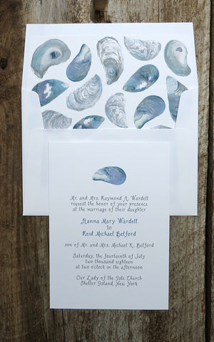 Mussel shell Wedding invitation with envelope liner