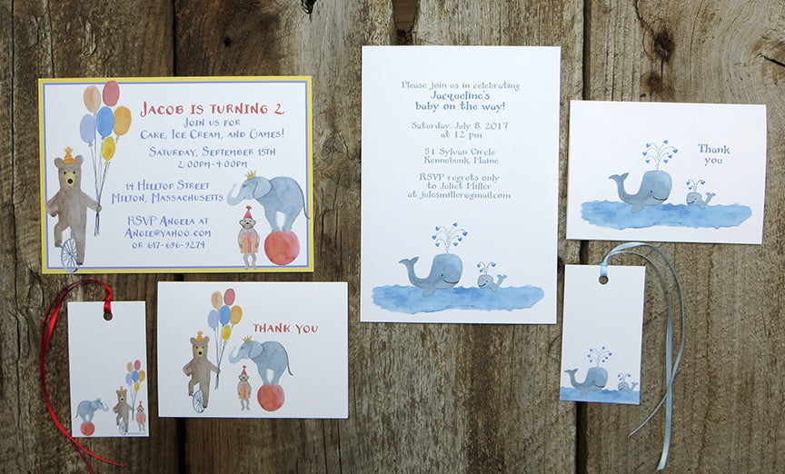 Watercolor invitations for kids parties