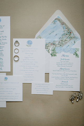 Hydrangea wedding suite with envelope liner