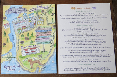 hand painted map and schedule of events