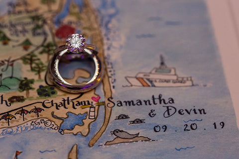 Wedding ring with Cape Cod map