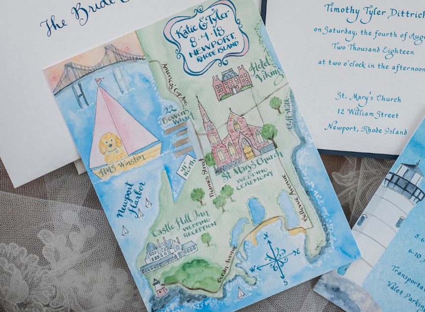 custom watercolor wedding map
