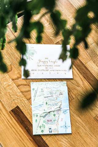 map with ribbon and envelope