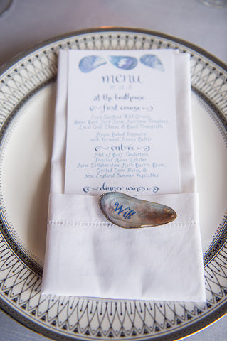 menu with calligraphy shell