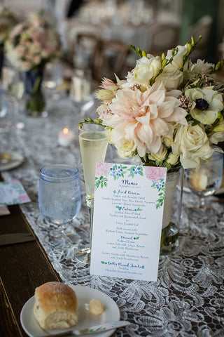 peony and blueberry menu for wedding day table