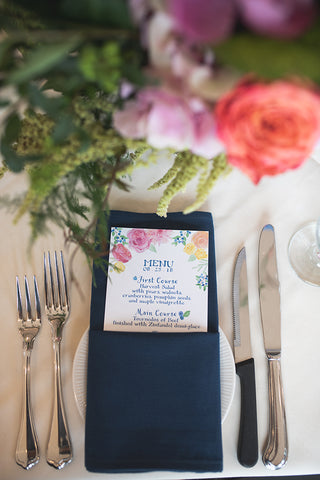 custom menu in navy napkin