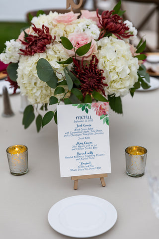 table top menu with peony