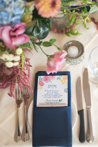 menu with pretty flowers