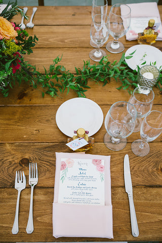 watercolor floral menu on place setting