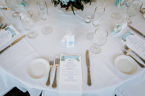 Wedding day menu on table