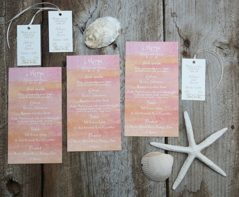 sunset menus and favor tags