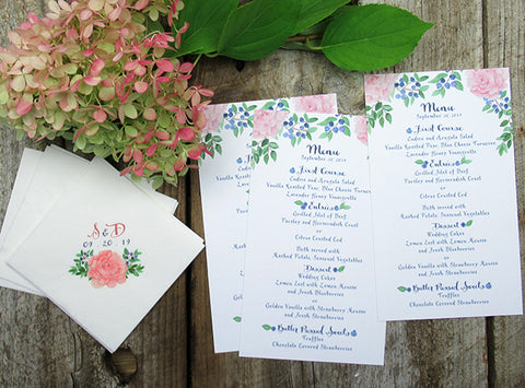 Peony blueberry Wedding table menu and napkins