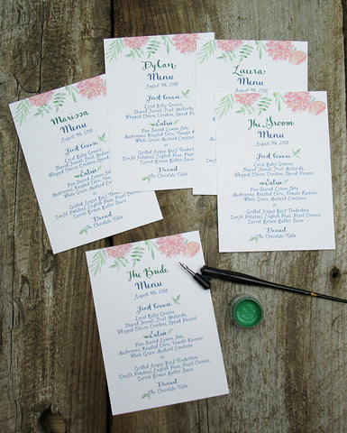 Menus with calligraphy