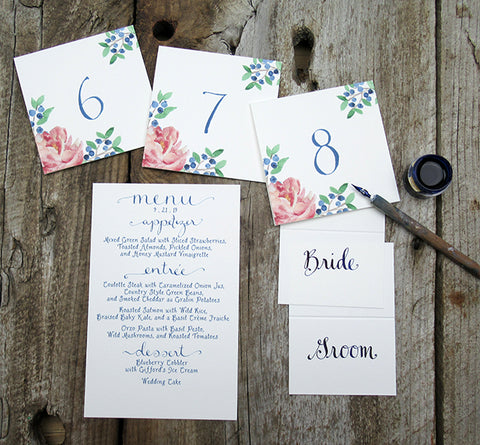 Peony and blueberries table numbers
