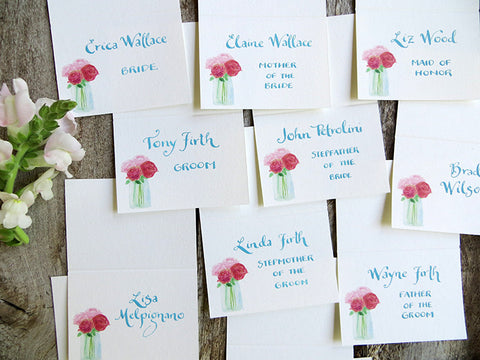 family place cards with roses