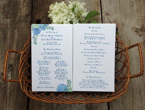 Wedding ceremony program