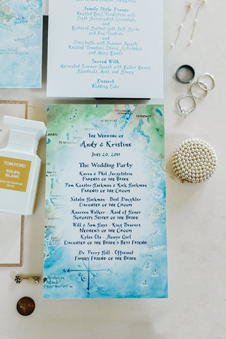 custom watercolor wedding reception program