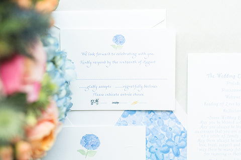 Hydrangea wedding reply card with food choices
