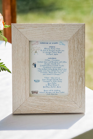Illustrated Schedule of events for wedding day