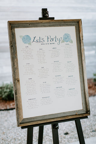 Seating chart Cape Cod wedding