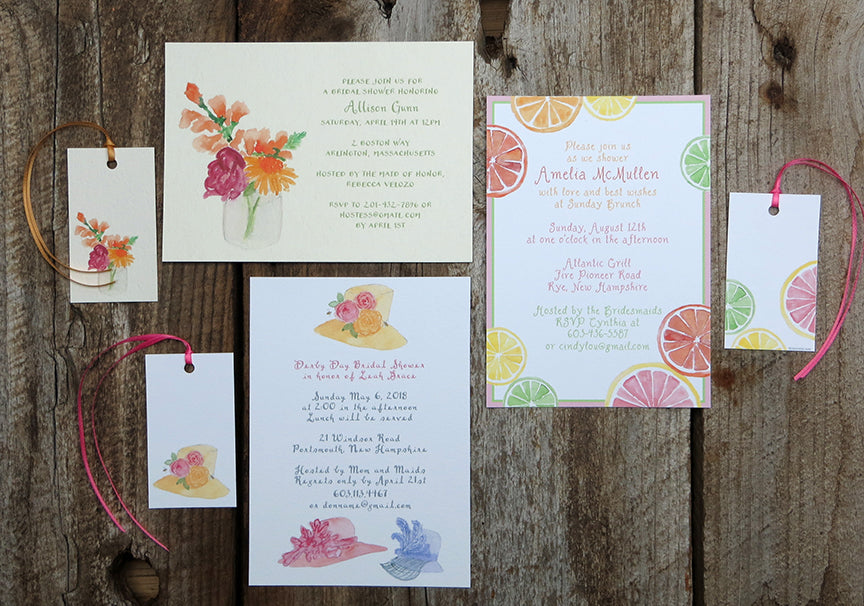 Watercolor bridal shower invitations