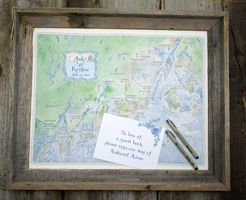 watercolor wedding map