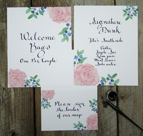 peony Wedding day signage for reception hall