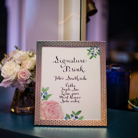 signature drink sign peonies