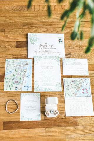Flourishing greenery invitation suite
